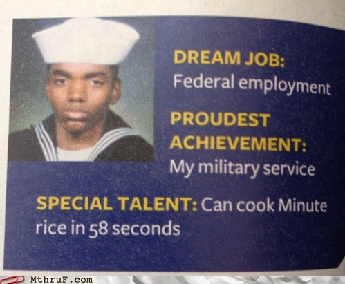 58 seconds,can cook minute rice in 5,federal employment,military service,minute rice,minute rice guy,navy,sailor