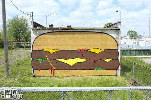 cheeseburger cheezburger food graffiti hacked irl Street Art - 6217165824
