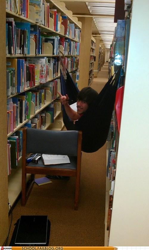 finals week hammock library studying - 6217191424