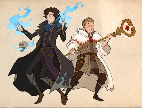 bbc,crossover,Fan Art,final fantasy,necromancer,RPG,sherlock holmes,video games,white mage