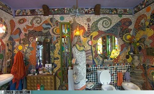 bathroom busy crazy mosaic tile - 6218097408
