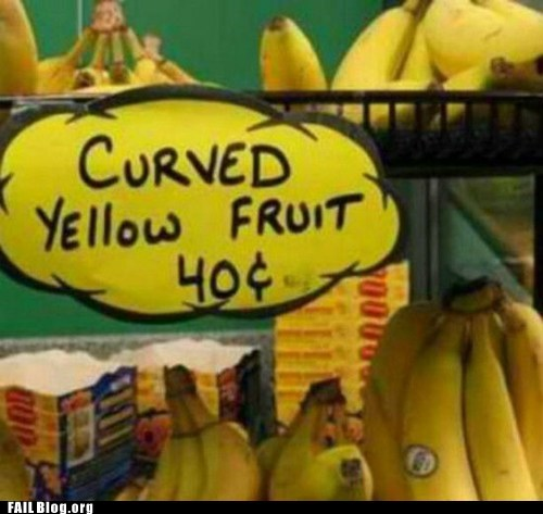 bananas Curved Yellow Fruit fruit sign store - 6218163200