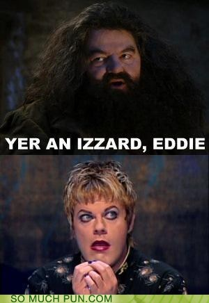 eddie izzard,Hagrid,Hall of Fame,Harry Potter,Hogwarts,literalism,similar sounding,surname,wizard