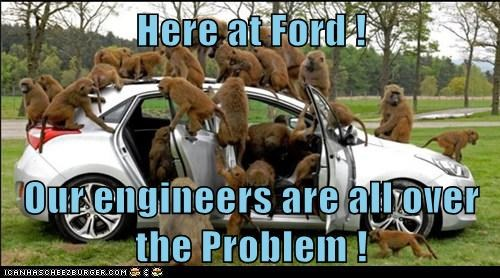 all over,car,covered,engineers,ford,monkeys