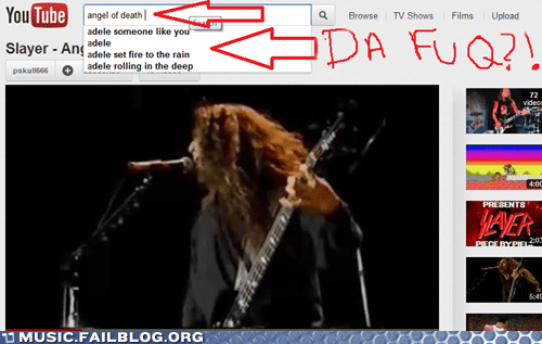 adele,angel of death,autocomplete,slayer,youtube