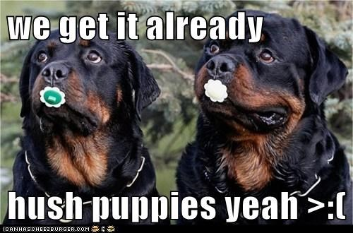 we get it already hush puppies yeah >:( - I Has A Hotdog