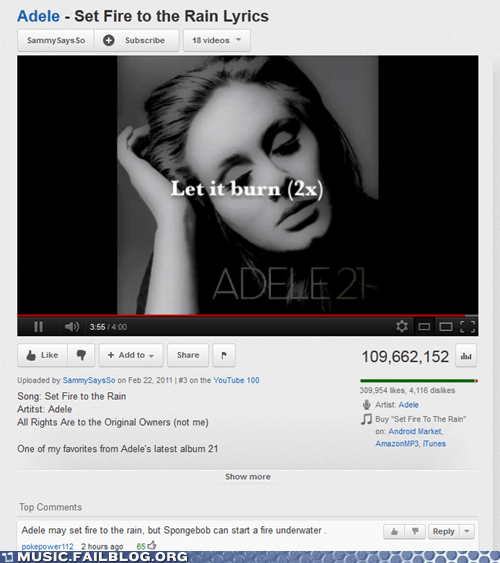 adele,comment,SpongeBob SquarePants,youtube,youtube comment