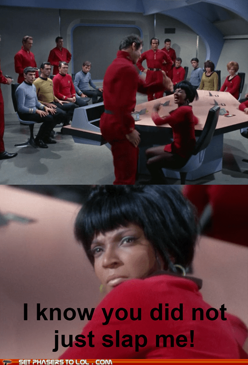 angry,DeForest Kelley,james doohan,Leonard Nimoy,McCoy,Nichelle Nichols,pissed off,scotty,slap,Spock,Star Trek,uhura