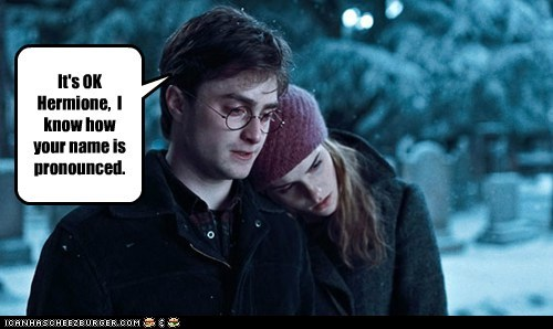comforting,Daniel Radcliffe,emma watson,harry,Harry Potter,hermione granger,its ok,name,pronounce,Sad