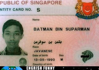 batman,batman bin suparman,funny id,id,ID card,identification,javanese,mothers day,singapore,superman