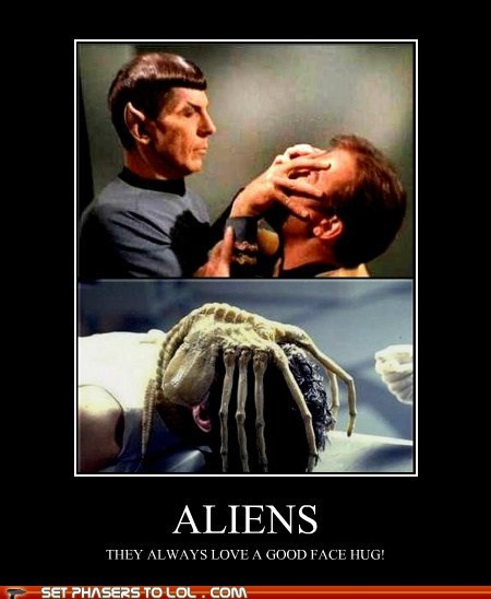 alien,Aliens,face hugger,Leonard Nimoy,love,mind meld,Star Trek,Vulcan,William Shatner