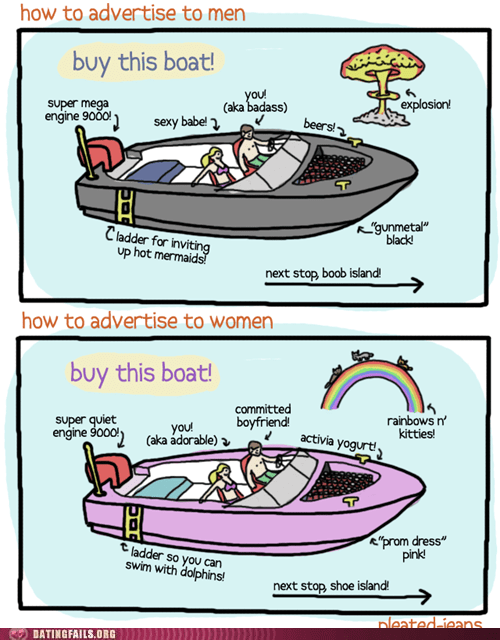 advertising,boats,mens-vs-women,pleated jeans