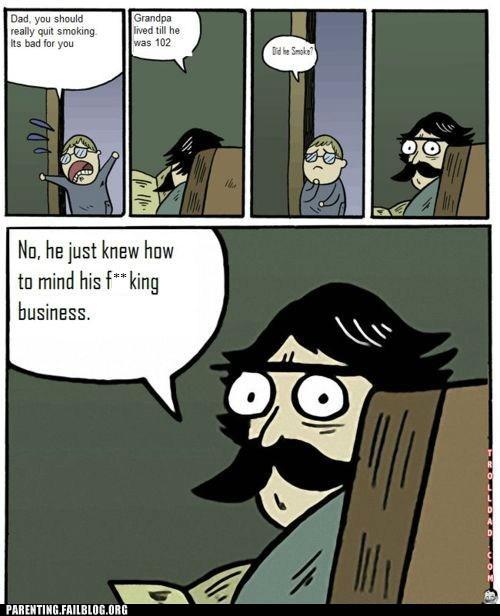 comic dad Grandpa smoking