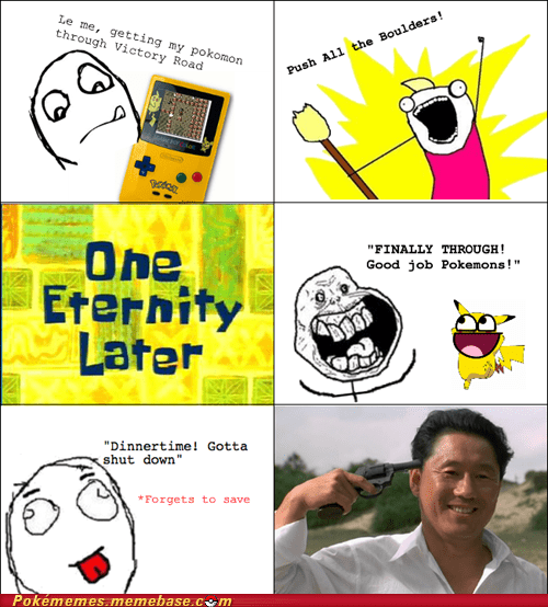 dinnertime,forgets to save,hms,pokemons,rage comic,Rage Comics,victory road