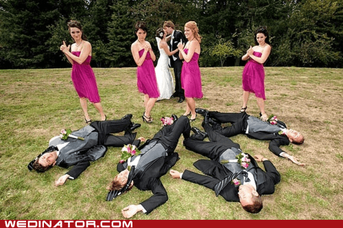 bridesmaids funny wedding photos guns KISS