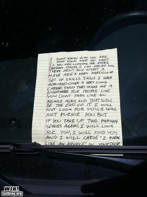 clever,liam neeson,parking,revenge,taken,win