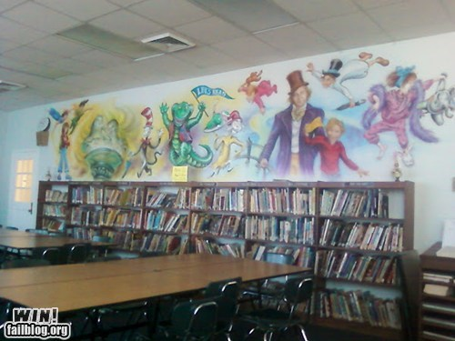 art,library,mural,school,wall