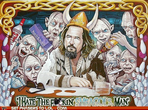 annoying,Fan Art,i hate this,jeff bridges,Lord of the Rings,Sméagol,the big lebowski,the dude