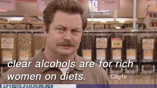 clear alcohol diets parks and rec parks and recreation rich women ron swanson vodka - 6227350272