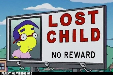 billboard,lost child,milhouse,no reward,the simpsons