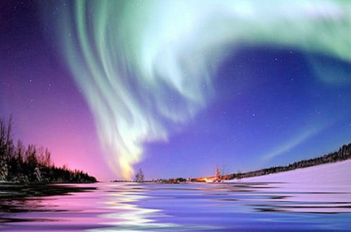 aurora borealis northern lights snow water - 6227874560