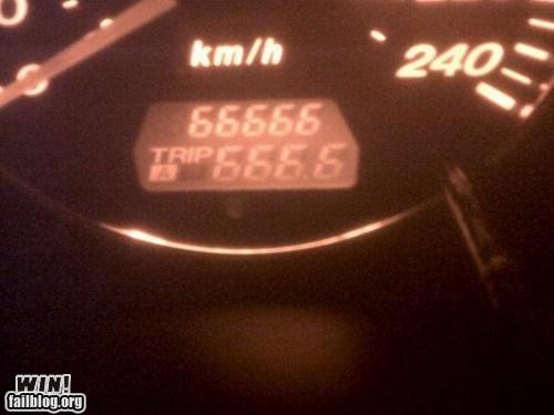 666,car,coincidence,metal,odometer