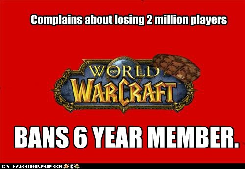 Complains about losing 2 million players BANS 6 YEAR MEMBER.