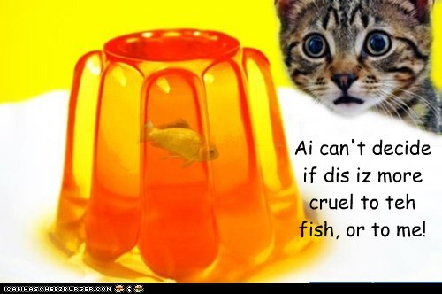 Ai can't decide if dis iz more cruel to teh fish, or to me!