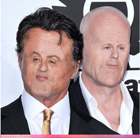actor,bruce willis,celeb,face,funny,shoop,smoosh,Sylvester Stallone