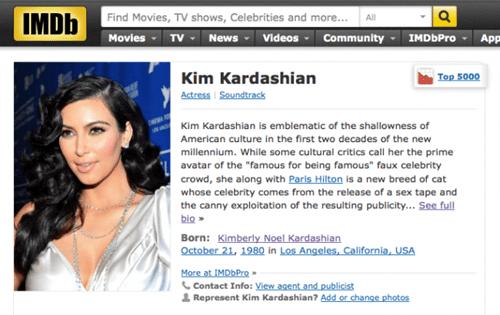 imdb bio,kim kardashian