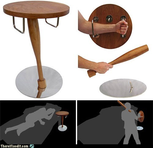 bat bedroom burglar burglar alarm Hall of Fame night table nightstand shield truncheon weapon - 6230193664