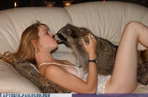 crunk critters,girlfriend,make out,raccoon