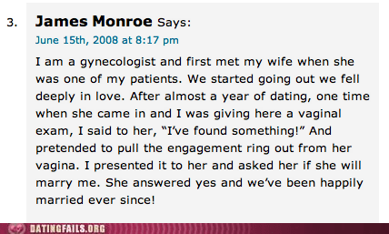 creepy proposal,found something,gynecologist,proposal stories