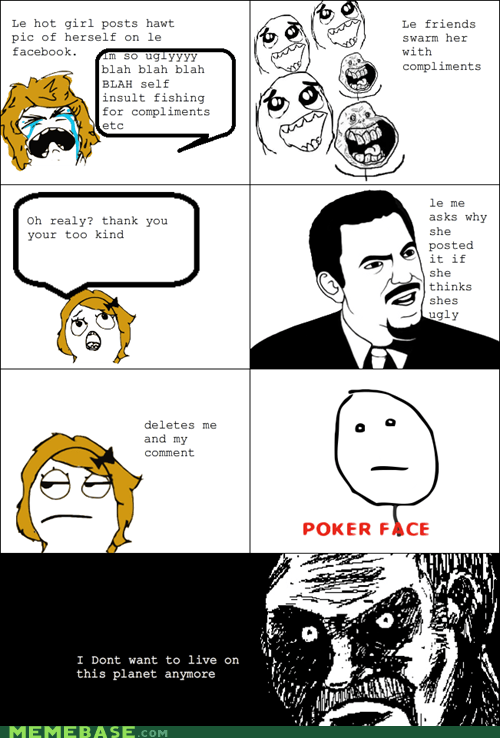 all that racket,facebook,girls,poker face,Rage Comics