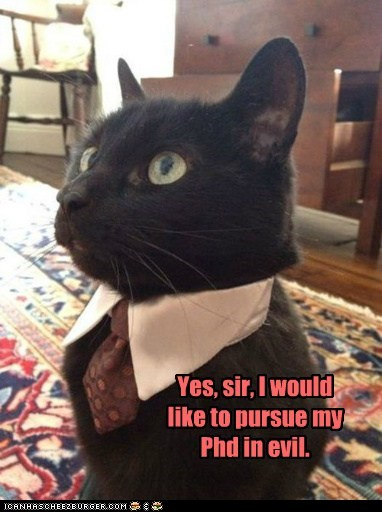 Yes, sir, I would like to pursue my Phd in evil.