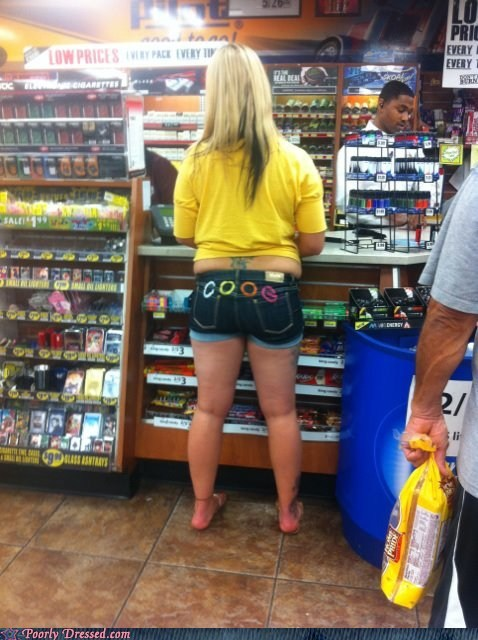 muffin top,ouch,shirt,short shorts