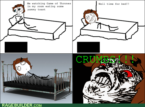 bed,crumbs,Rage Comics,raisin rage,toast