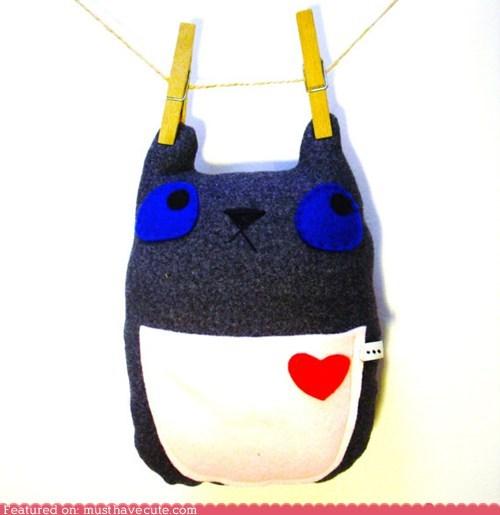 bear felt handmade heart pocket - 6230648832