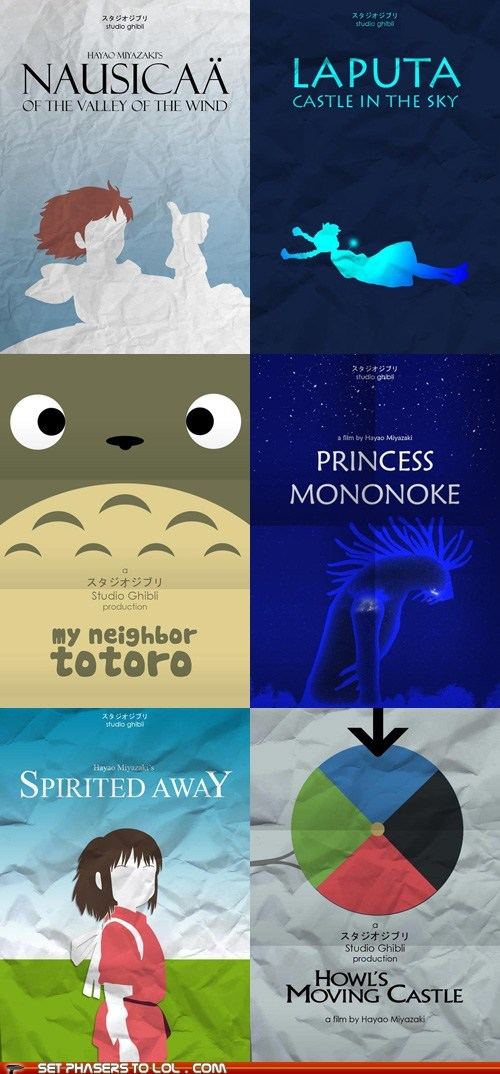 anime,best of the week,Hayao Miyazaki,howls-moving-castle,minimalism,movie posters,movies,princess mononoke,spirited away,studio ghibli,totoro