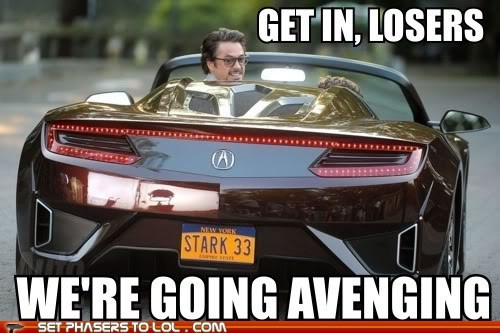 acura,avenging,car,get-in-loser-were-going-shopping,iron man,mean girls,tony stark