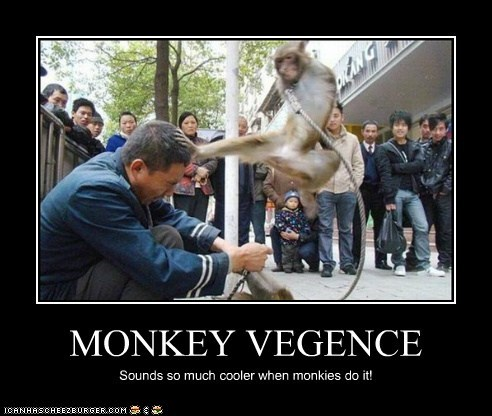 MONKEY VEGENCE Sounds so much cooler when monkies do it!