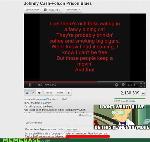 alan jackson folsom prison blues i dont want to i dont want to live on this planet anymore johnny cash Music youtube - 6230763520