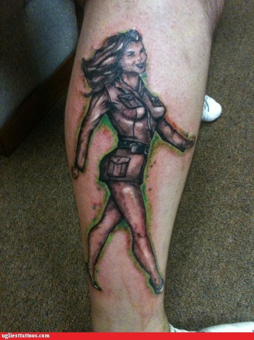 leg tattoo,pockets,radioactive glow,sexy babe tattoo