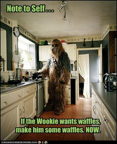 advice,chewbacca,kitchen,note to self,now,waffles,want,wookie