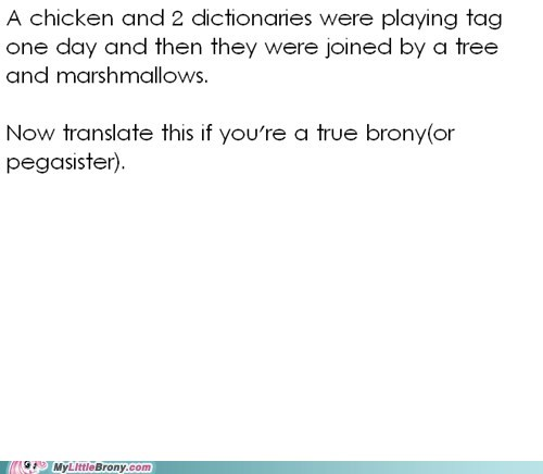 brony chicken dictionaries test the internets