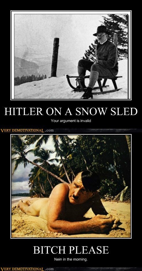 hilarious hitler invalid sled snow wtf