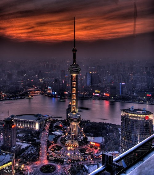 architecture China downtown night tower