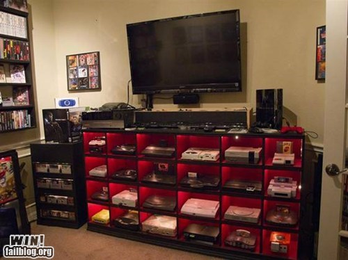 drool,entertainment center,g rated,nerdgasm,video games,win