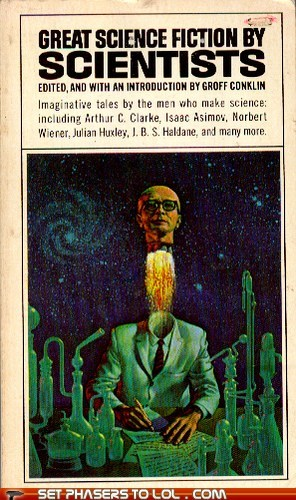 arthur-c-clarke,book covers,books,cover art,flying,head,isaac asimov,scary,science fiction,scientists,traumatized,wtf