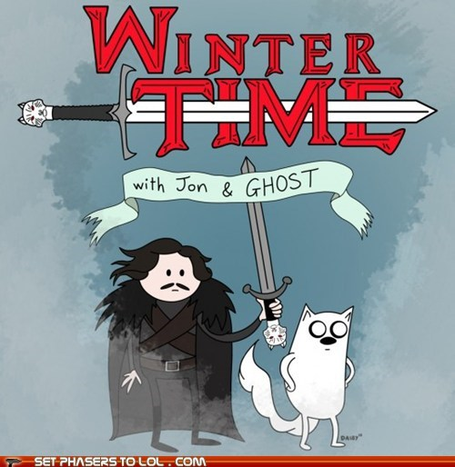 a song of ice and fire,adventure time,direwolf,Fan Art,finn and jake,Game of Thrones,ghost,illustration,Jon Snow,Winter Is Coming